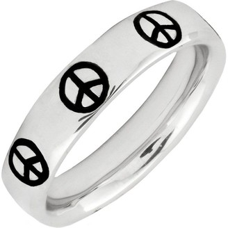 ING Simply Stacks Sterling Epoxy Enamel Peace SignRing