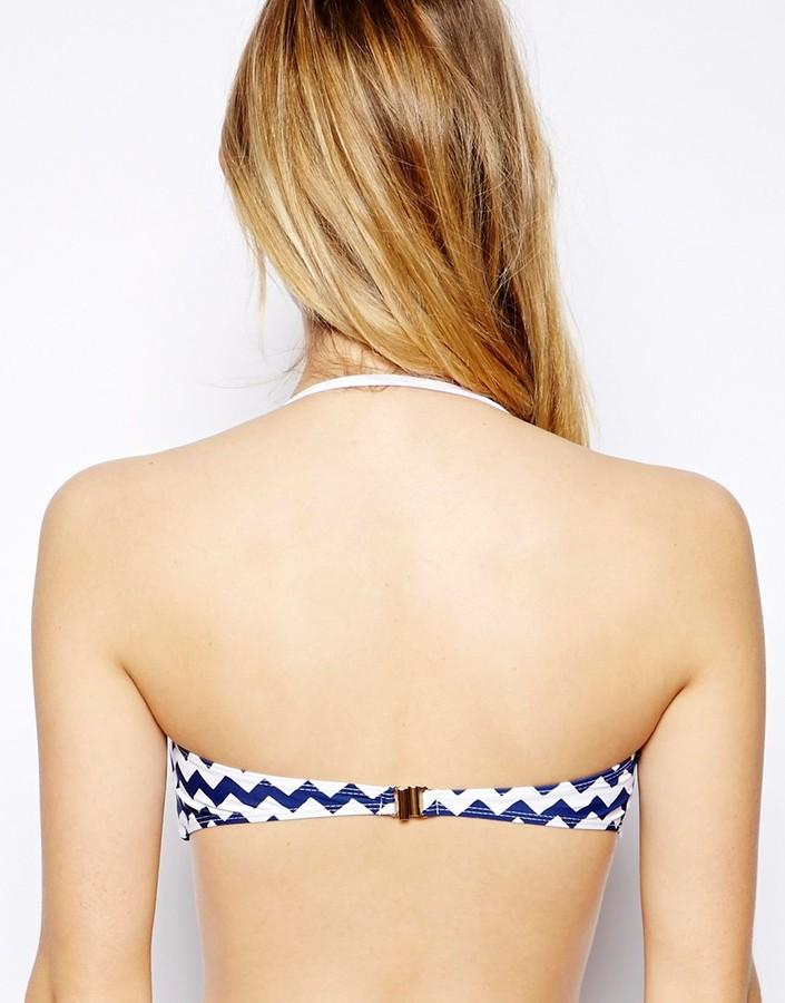 South Beach New Nautical Chevron Stripe Twist Bandeau Bikini Top