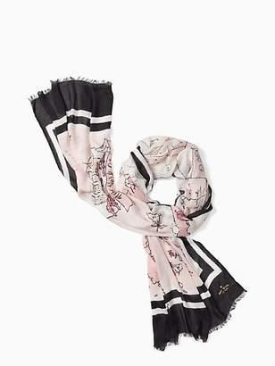 Kate Spade Usa map oblong scarf