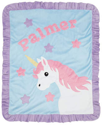 Boogie Baby Personalized Unicorn Plush Blanket, Blue