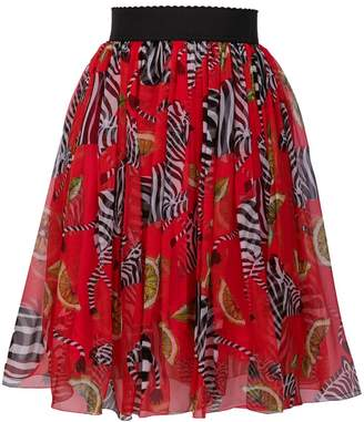 Dolce & Gabbana pleated zebra print skirt