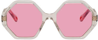 Chloé Transparent and Pink Oversized Octagon Sunglasses