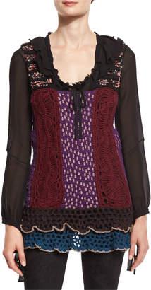 Etro Ruffled-Hem Crochet Vest, Multi