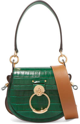 Chloé Tess Small Croc-effect Leather And Suede Shoulder Bag - Forest green