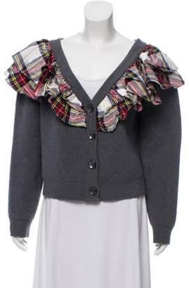 Isa Arfen Wool Ruffle-Trimmed Cardigan w/ Tags Grey Wool Ruffle-Trimmed Cardigan w/ Tags