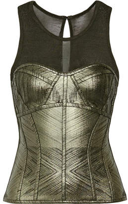 Herve Leger Metallic Bandage And Stretch-knit Top