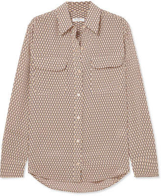 Equipment Signature Printed Silk Shirt - Beige