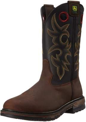 "John Deere Men's JD5329 11"" Pull On Steel Toe Wester Work Boot"