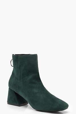 boohoo NEW Womens Low Block Heel Shoe Boots in