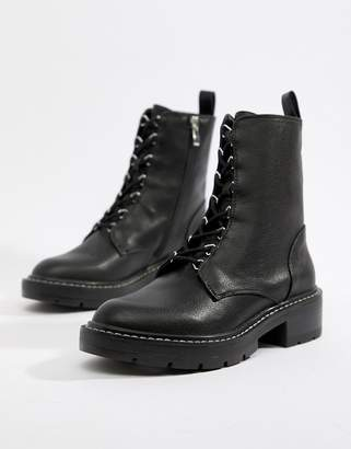 Pull&Bear lace front cleated sole hiker boot
