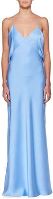 The Row Gran V-Neck Draped-Back Sleeveless Silk Evening Gown