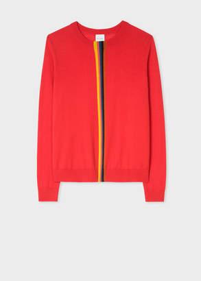 Paul Smith Women's Red Merino Wool Sweater With 'Artist Stripe' Detail