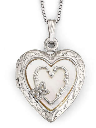 Mother of Pearl FINE JEWELRY Mother-of-Pearl Heart Butterfly Locket