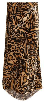Raey Tiger Print Bias Godet Silk Satin Slip Midi Skirt - Womens - Brown Multi