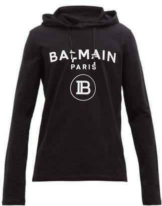 Balmain Logo Embossed Cotton Hooded Sweatshirt - Mens - Black