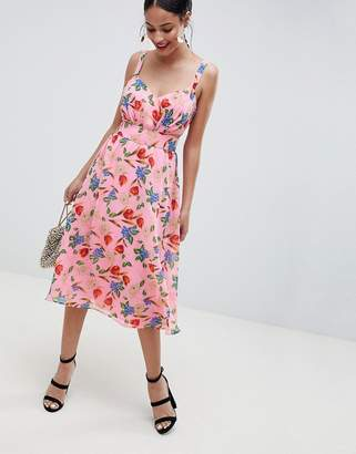 Asos DESIGN Cut Out Midi Dress In Pink Floral Print