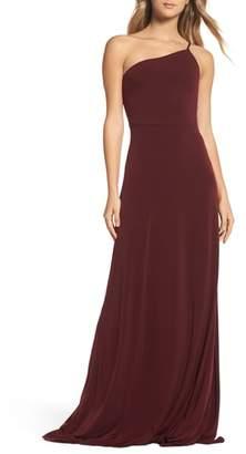 Amsale Jersey One-Shoulder Gown