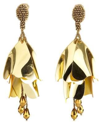 Oscar de la Renta Large Impatiens Flower Drop Clip On Earrings