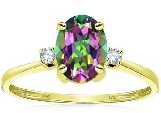Stark Star K Oval 8x6mm Mystic Topaz Engagement Promise Ring 14kt Size 8