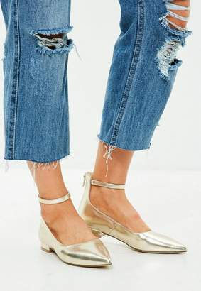 Missguided Gold Ankle Strap Pointed Shoe