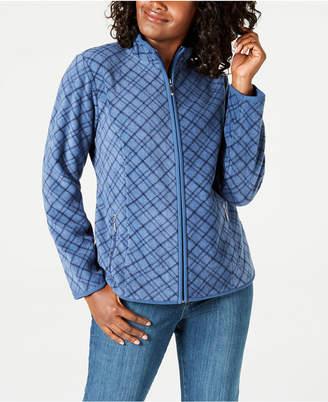 Karen Scott Petite Casual Plaid Zip-Front Jacket