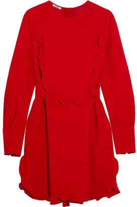 Miu Miu - Ruffled Cady Mini Dress - Red