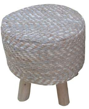 "ACME Furniture ACME Annah 16"" Round Stool in Leather and Jute Upholstery"