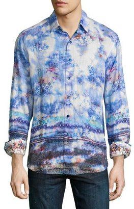 Robert Graham The Tribe Allover Printed Sport Shirt, Sapphire $268 thestylecure.com