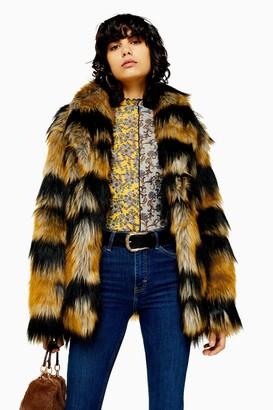 Topshop Tiger Faux Fur Coat