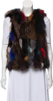 Alice + Olivia Zip-Up Fox Fur Vest