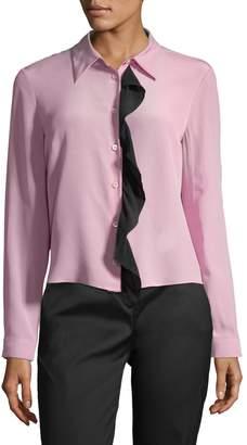 Prada Women's Contrast Ruffle Blouse