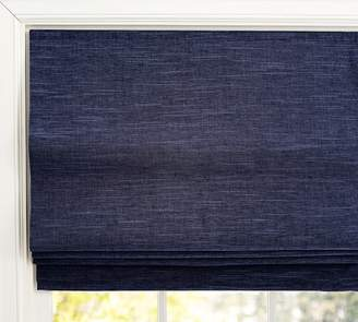 Pottery Barn Emery Linen/Cotton Cordless Roman Shade - Navy