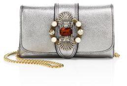 Miu MiuMiu Miu Crystal-Embellished Madras Metallic Leather Shoulder Bag
