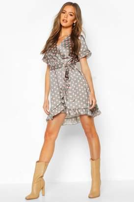 boohoo Polka Dot Ruffle Belted Tea Dress