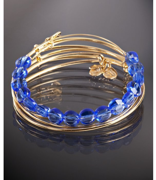 Alex and Ani set of 4 - gold and sapphire beaded expandable wire bangles