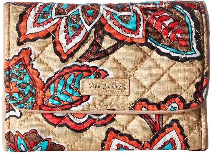 Vera Bradley Iconic RFID Riley Compact Wallet Wallet Handbags - DESERT FLORAL - STYLE
