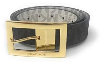 Michael Kors Women's Rectangle Buckle Reversible To Vanilla Logo Belt (L)