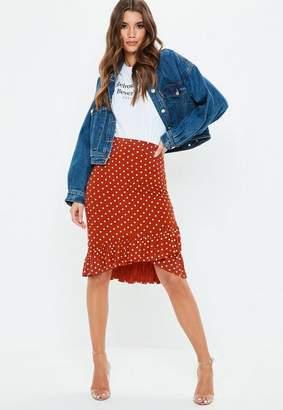 Missguided Rust Polka Dot Midi Skirt
