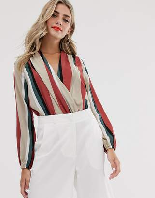 Outrageous Fortune wrap front body in stripe