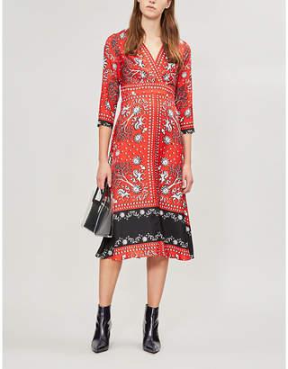 Sandro Graphic-print contrast-panel silk dress