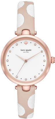 Kate Spade Women Holland Nude & White Leather Strap Watch 34mm