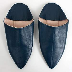 Bohemia Navy Classic Moroccan Pointed Babouche Slippers - SMALL - Blue