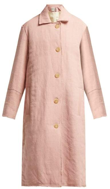 By Walid - Vicki Raw Edge Linen Coat - Womens - Pale Pink