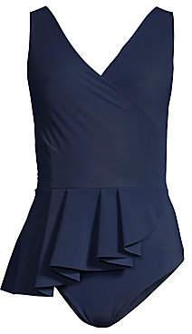 Chiara Boni Women's Arinette Asymmetric Peplum One-Piece Swimsuit