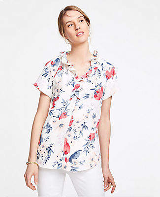 Ann Taylor Petite Floral Cluster Double Ruffle Popover