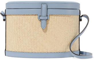 Hunting Season - Trunk Leather And Raffia Shoulder Bag - Light blue