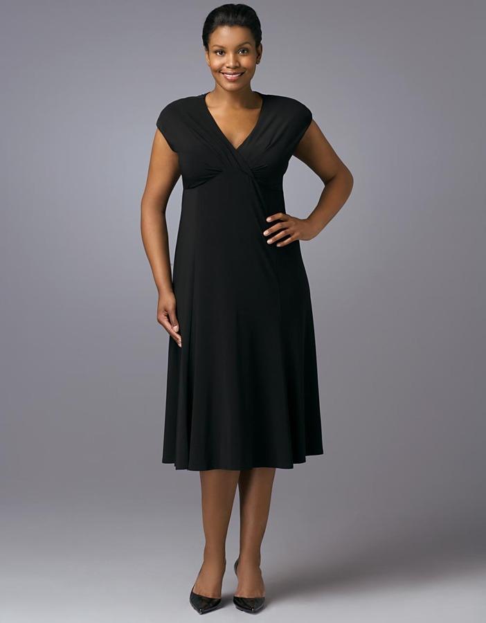 Jones New York Plus-Size Black Cap-Sleeved V-Neck Dress