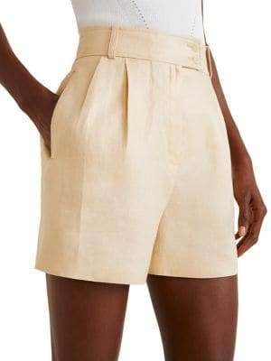 MANGO High-Waist Linen Shorts