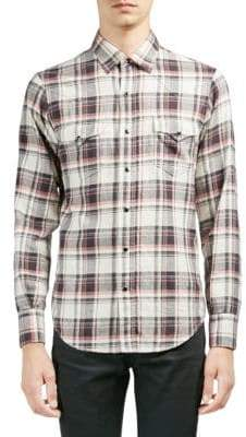 Saint Laurent Plaid Casual Button-Down Shirt