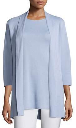 Eileen Fisher 3/4-Sleeve Silk-Cotton Interlock Cardigan, Delfina, Plus Size